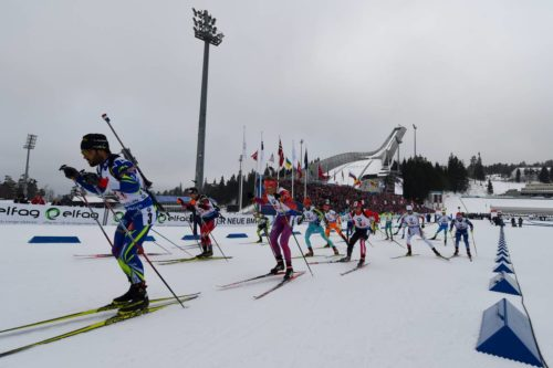 12.03.2016, Oslo, Norway (NOR): start men relay Event Feature: - IBU world championships biathlon, relay men, Oslo (NOR). www.nordicfocus.com. © Tumashov/NordicFocus. Every downloaded picture is fee-liable.