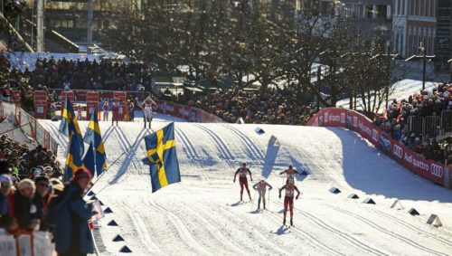03.02.2016, Drammen, Norway (NOR): women on the final stretch   - FIS world cup cross-country, individual sprint, Drammen (NOR). www.nordicfocus.com. © Felgenhauer/NordicFocus. Every downloaded picture is fee-liable.
