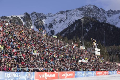 24.01.2016, Antholz, Italy (ITA): Event Feature: Full packed grand stand  -  IBU world cup biathlon, relay men, Antholz (ITA). www.nordicfocus.com. © Manzoni/NordicFocus. Every downloaded picture is fee-liable.