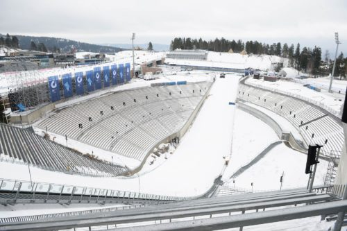 01.03.2016, Oslo, Norway (NOR): Event Feature: `overview over the stadium of Holmenkollen - IBU world championships biathlon, training, Oslo (NOR). www.nordicfocus.com. © Tumashov/NordicFocus. Every downloaded picture is fee-liable.