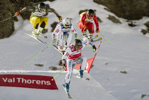 VAL THORENS,FRANCE,10.JAN.15 - FREESTYLE SKIING - FIS World Cup, ski cross, men. Image shows Paul Eckert (GER), Sylvain Miaillier (FRA), Jean Frederic Chapuis (FRA) and Marc Bischofberger (SUI). Photo: GEPA pictures/ Matthias Hauer