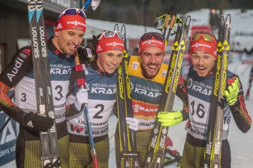 04.12.2016, Lillehammer, Norway (NOR): Bjoern Kircheisen (GER), Eric Frenzel (GER), Johannes Rydzek ( GER  ), Fabian Riessle ( GER  ), (l-r)  - FIS world cup nordic combined, individual gundersen HS138/10km, Lillehammer (NOR). www.nordicfocus.com. © Modica/NordicFocus. Every downloaded picture is fee-liable.
