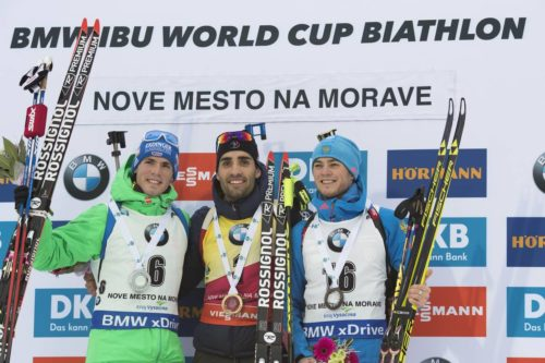18.12.2016, Nove Mesto, Czech Republic (CZE): Simon Schempp (GER), Martin Fourcade (FRA), Anton Babikov (RUS), (l-r) - IBU world cup biathlon, mass men, Nove Mesto (CZE). www.nordicfocus.com. © Manzoni/NordicFocus. Every downloaded picture is fee-liable.