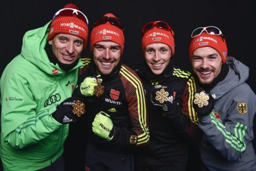 24.02.2017, Lahti, Finland (FIN): Bjoern Kircheisen (GER), Johannes Rydzek (GER), Eric Frenzel (GER), Fabian Riessle (GER), +g+, (l-r) - FIS nordic world ski championships, nordic combined, medals, Lahti (FIN). www.nordicfocus.com. © NordicFocus. Every downloaded picture is fee-liable.