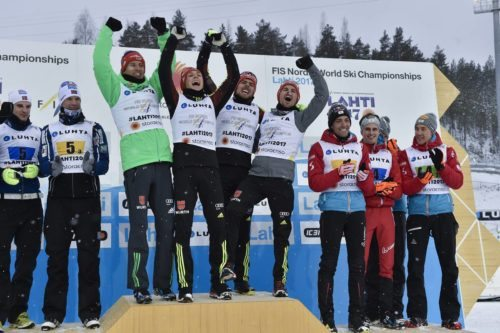 26.03.2017, Lahti, Finland (FIN): Fabian Riessle (GER), Johannes Rydzek (GER), Bjoern Kircheisen (GER), Eric Frenzel (GER) - FIS nordic world ski championships, nordic combined, team HS100/4x5km, Lahti (FIN). www.nordicfocus.com. © Thibaut/NordicFocus. Every downloaded picture is fee-liable.