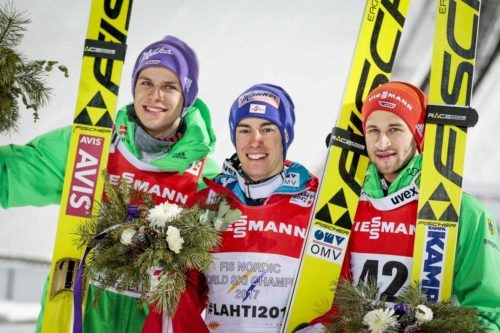 25.02.2017, Lahti, Finland (FIN): Andreas Wellinger (GER), Stefan Kraft (AUT), Markus Eisenbichler (GER), (l-r) - FIS nordic world ski championships, ski jumping, individual HS100, Lahti (FIN). www.nordicfocus.com. © Modica/NordicFocus. Every downloaded picture is fee-liable.