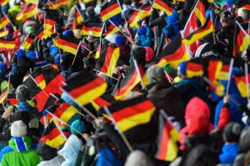 19.01.2018, Oberstdorf, Germany (GER): Spectators waving German flags - FIS ski flying world championships, individual HS225, Oberstdorf (GER). www.nordicfocus.com. © Rauschendorfer/NordicFocus. Every downloaded picture is fee-liable.