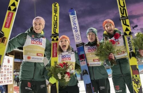 02.03.2019, Seefeld, Austria (AUT): Katharina Althaus (GER), Markus Eisenbichler (GER), Juliane Seyfarth (GER), Karl Geiger (GER) - FIS nordic world ski championships, ski jumping, mixed team HS109, Seefeld (AUT). www.nordicfocus.com. © THIBAUT/NordicFocus. Every downloaded picture is fee-liable.