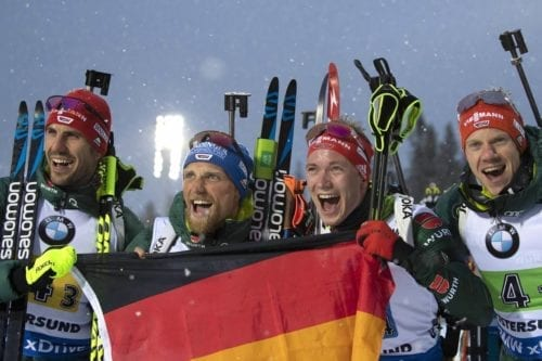 16.03.2019, Oestersund, Sweden (SWE): Arnd Peiffer (GER), Erik Lesser (GER), Benedikt Doll (GER), Roman Rees (GER), (l-r) - IBU world championships biathlon, relay men, Oestersund (SWE). www.nordicfocus.com. © Manzoni/NordicFocus. Every downloaded picture is fee-liable.