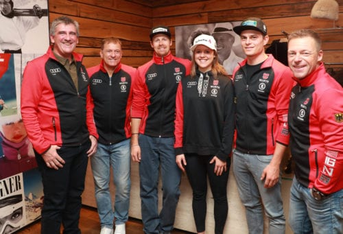 SOELDEN,AUSTRIA,24.OCT.19 - ALPINE SKIING - FIS World Cup season, opening, Rettenbachferner, preview, side event, DSV, Deutscher Skiverband, press conference. Image shows Christian Schwaiger, Wolfgang Maier, Stefan Luitz, Viktoria Rebensburg, Alexander Schmid and Juergen Graller (GER). Photo: GEPA pictures/ Andreas Pranter