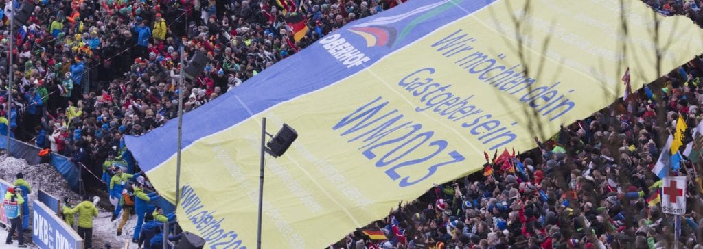 06.01.2018, Oberhof, Germany (GER): Event Feature: Fans presenting the WCH-Banner - IBU world cup biathlon, Oberhof (GER)